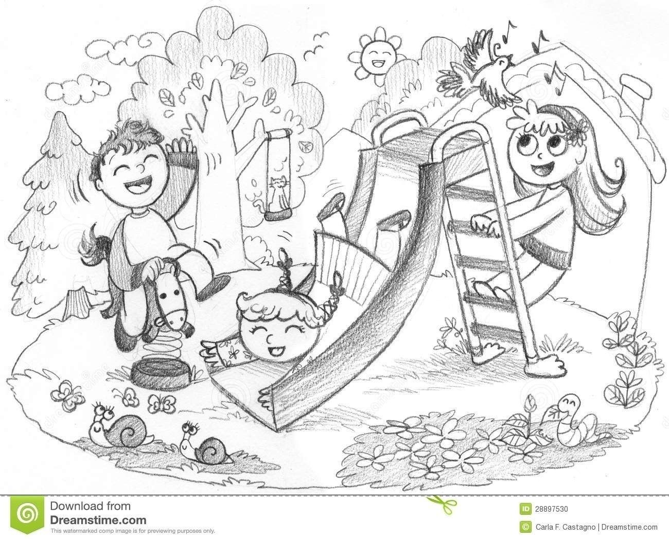 Kids Playing Outside Clipart Black And White Furniture Walpaper