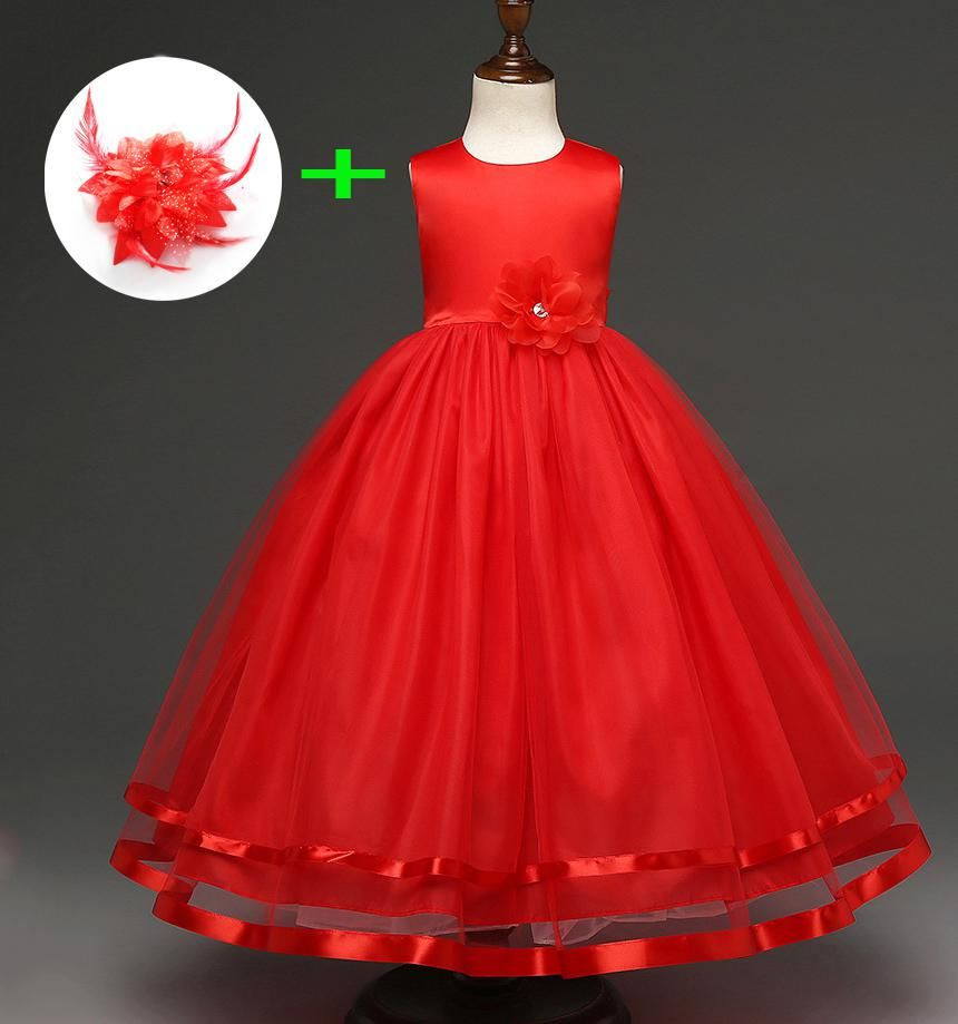 Blue Red White Graduation Dress For Kids Ball Gown Flower Little Girls Wedding Party Dresses For 12 Girls Long Dresses Girls Formal Dresses Pink Evening Gowns [ 919 x 860 Pixel ]