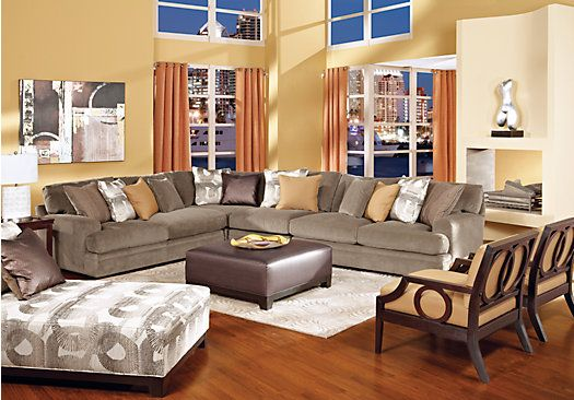 Picture Of Cindy Crawford Home Fontaine 5 Pc Sectional Living Room From Living  Room Sets Furniture Part 30