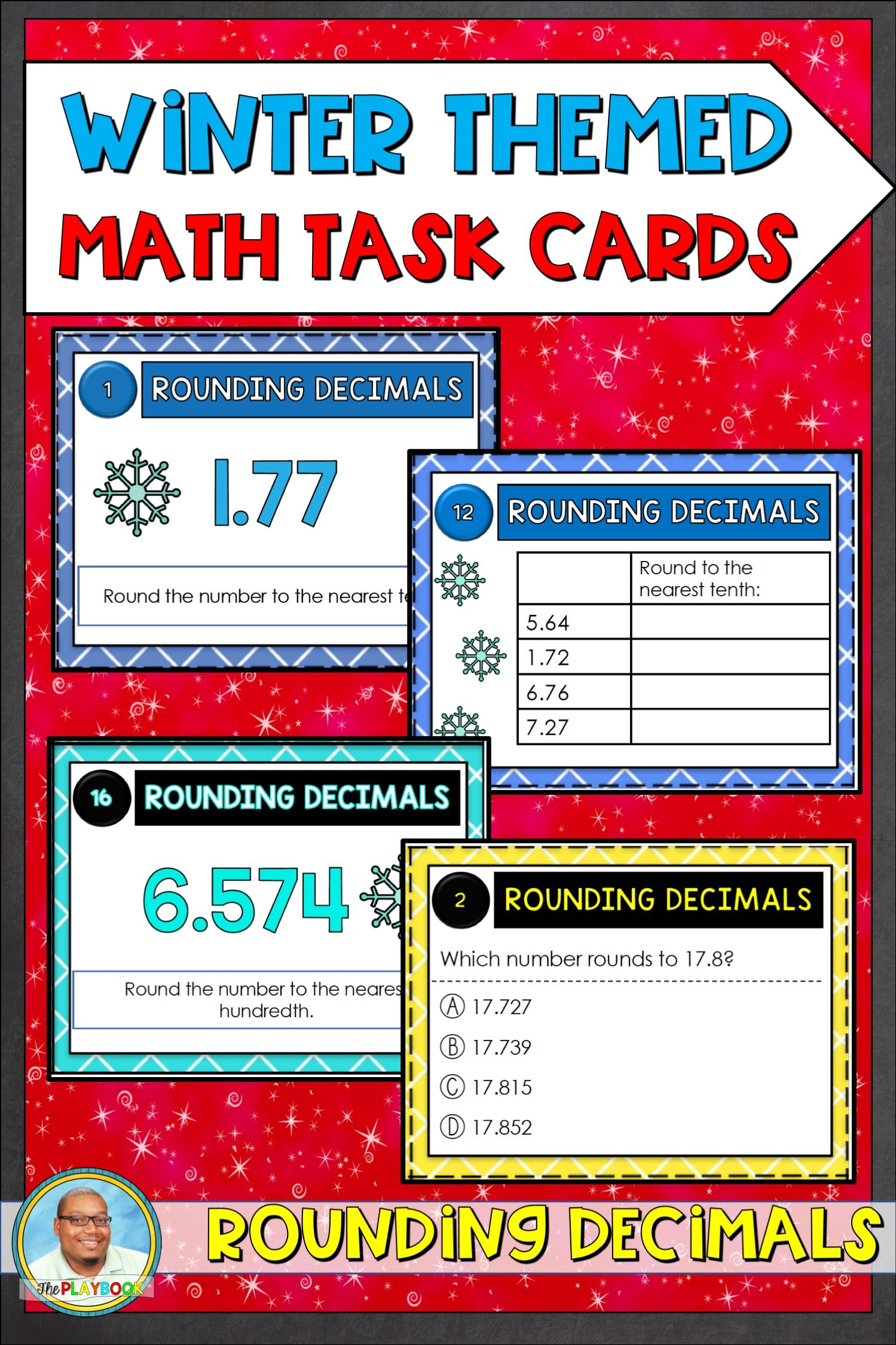 Winter Themed Rounding Decimals Task Cards