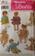 """SIMPLICITY 5415 DOLL CLOTHES pattern Size A  S,M,L (12""""-22"""")  NEW Factory Folded"""