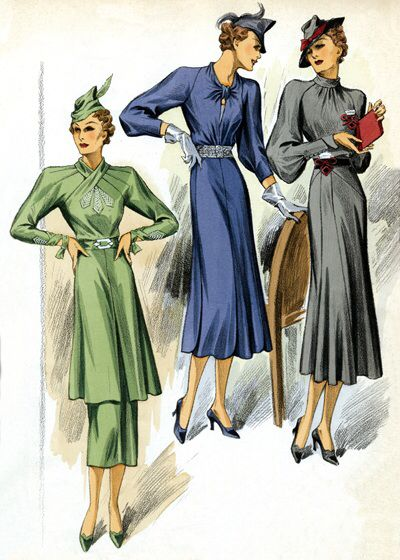 Women's fashion in the late 1930s