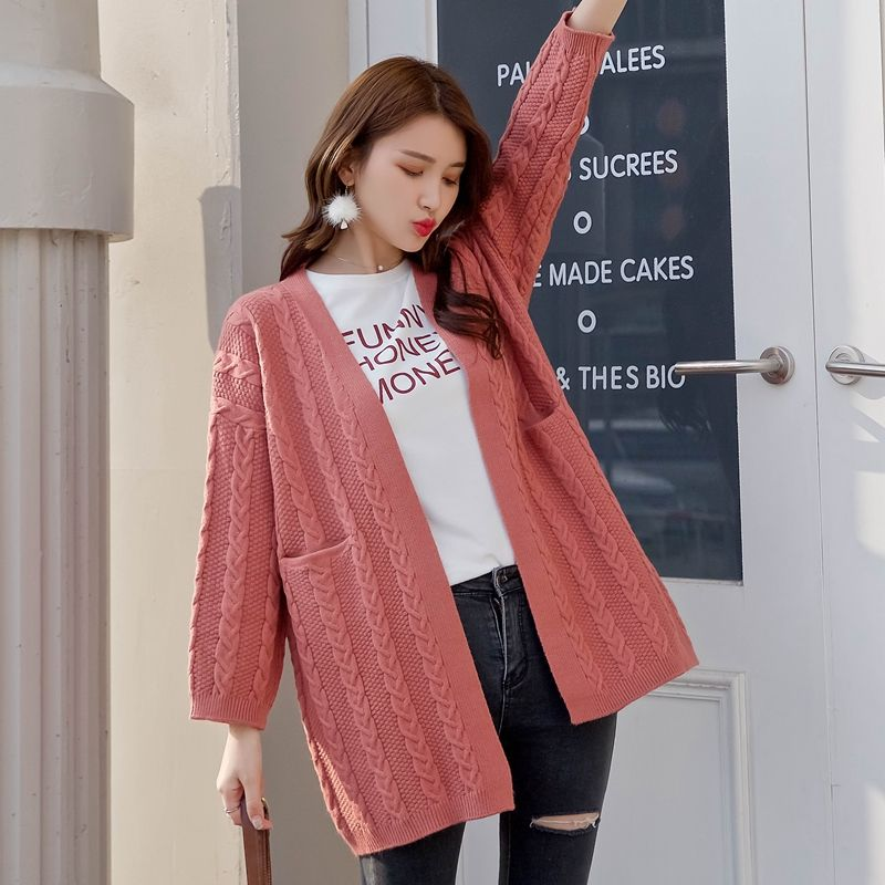Japanese college wind 2018 new V collar twist pure cardigan sweater loose  all-match long sweater girl Price  34.20   FREE Shipping  CoolStuff 32f3feda6644