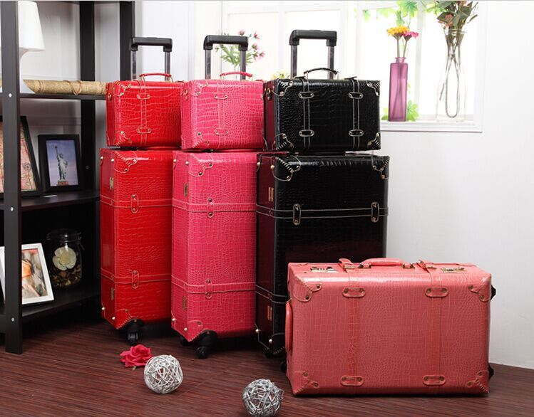 Wholesale!Women retro travel luggage bags set,13 22 24inch pu ...