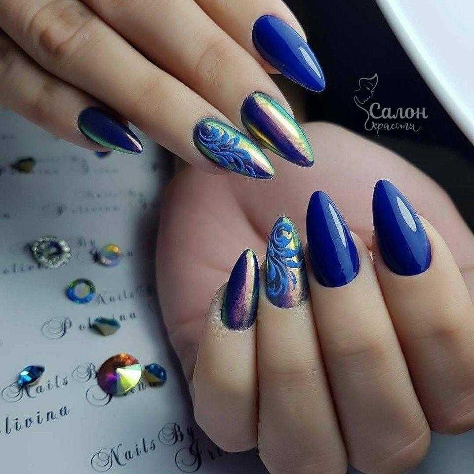 Pin De Eugenia Burchell En Uñas Azul Uñas Espejo Uñas