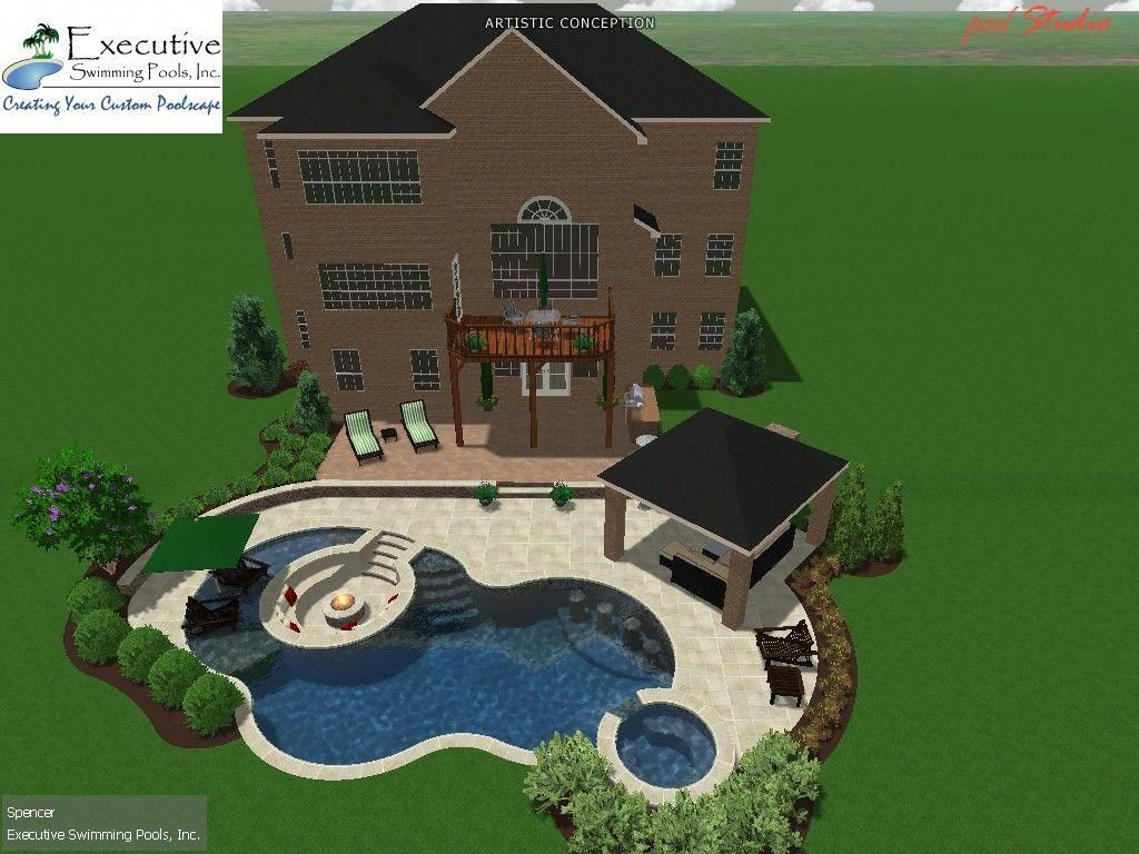 Custom Pool Design Freeform Featuring Sunken Seating Area With Fire Pit Backyardideaswithpool Swimming Pool Designs Pool Gazebo Freeform Pools