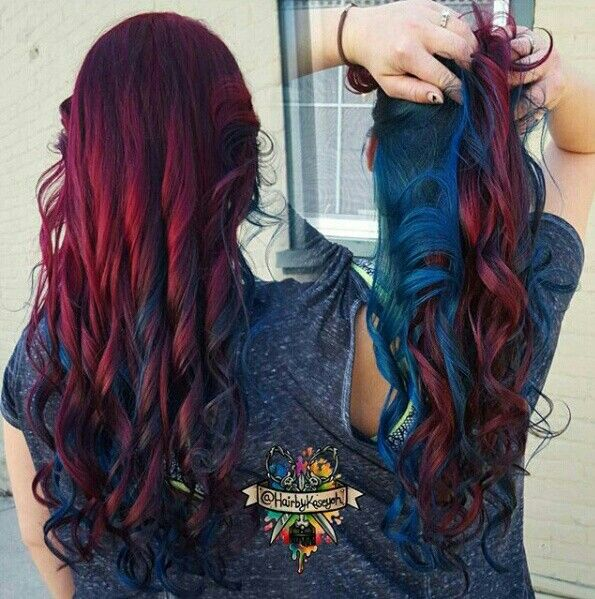 Dark Red Maroon And Blue Hair Color Hair Styles Maroon Hair Hair Color Unique