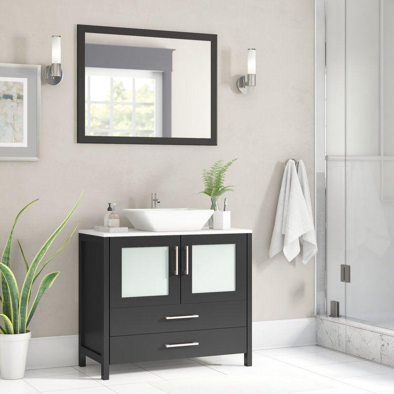 Karson 36 Single Bathroom Vanity, Long Mirrored Vanity Cabinets