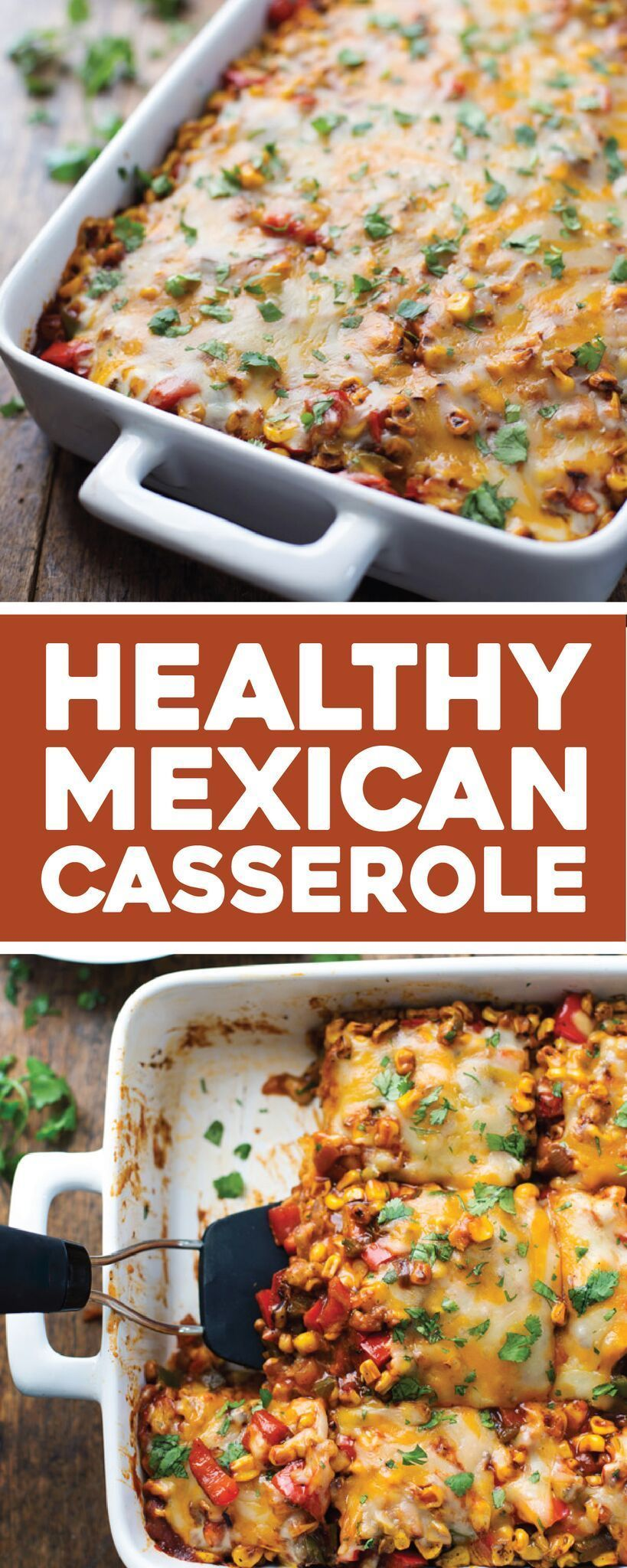 This Healthy Mexican Casserole has roasted corn, roasted bell peppers, cheese, enchilada sauce, and corn tortillas. Perfect leftovers for lunches! |