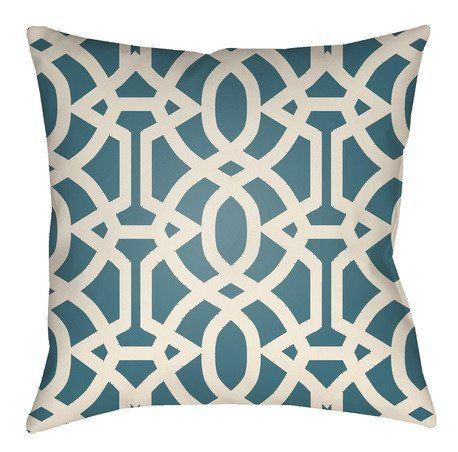 Teal outdoor throw pillows in trellis pattern add instant color and visual appeal to your patio living space. Crafted from durable and weather resistant fabric