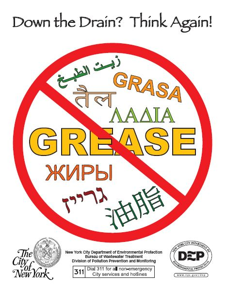 No Grease Down The Drain New York City Greasy Pipes