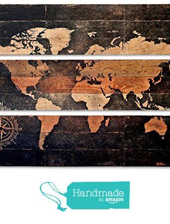 Extra Large World Map and Compass Triptych Wall Art on Distressed Solid Wood 3-piece from PYNEandSTEELE https://www.amazon.com/dp/B01HXRZZ6G/ref=hnd_sw_r_pi_dp_XM3LxbPB07CF4 #handmadeatamazon