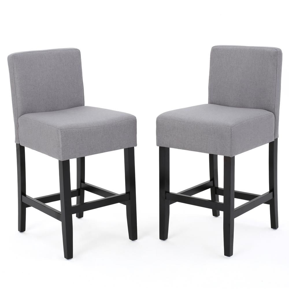 Noble House Lopez 26 In Light Grey Fabric Counter Stool Set Of 2