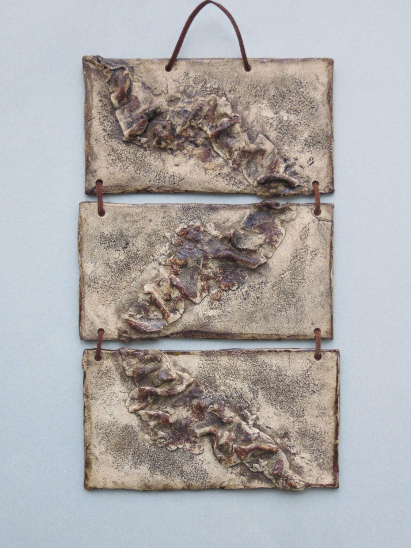 Organic Abstract Ceramic Wall Hanging Earth Tone Clay Wall