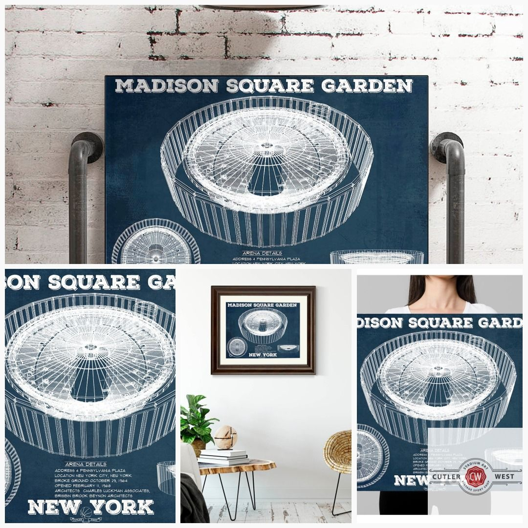 New York Knicks Madison Square Garden Vintage Blueprint Nba Etsy In 2020 New York Knicks Madison Square Knicks