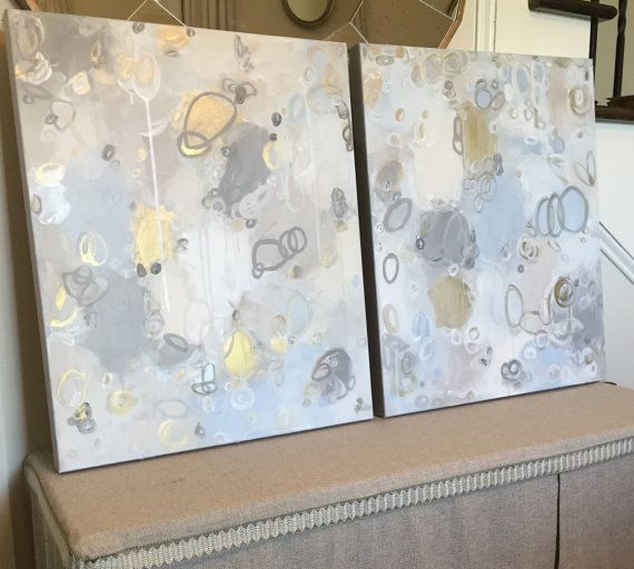 be65532d826 Original Abstract Blue Gray Charcoal Taupe Gold Ivory White Painting by  CRESCENTandGOLD