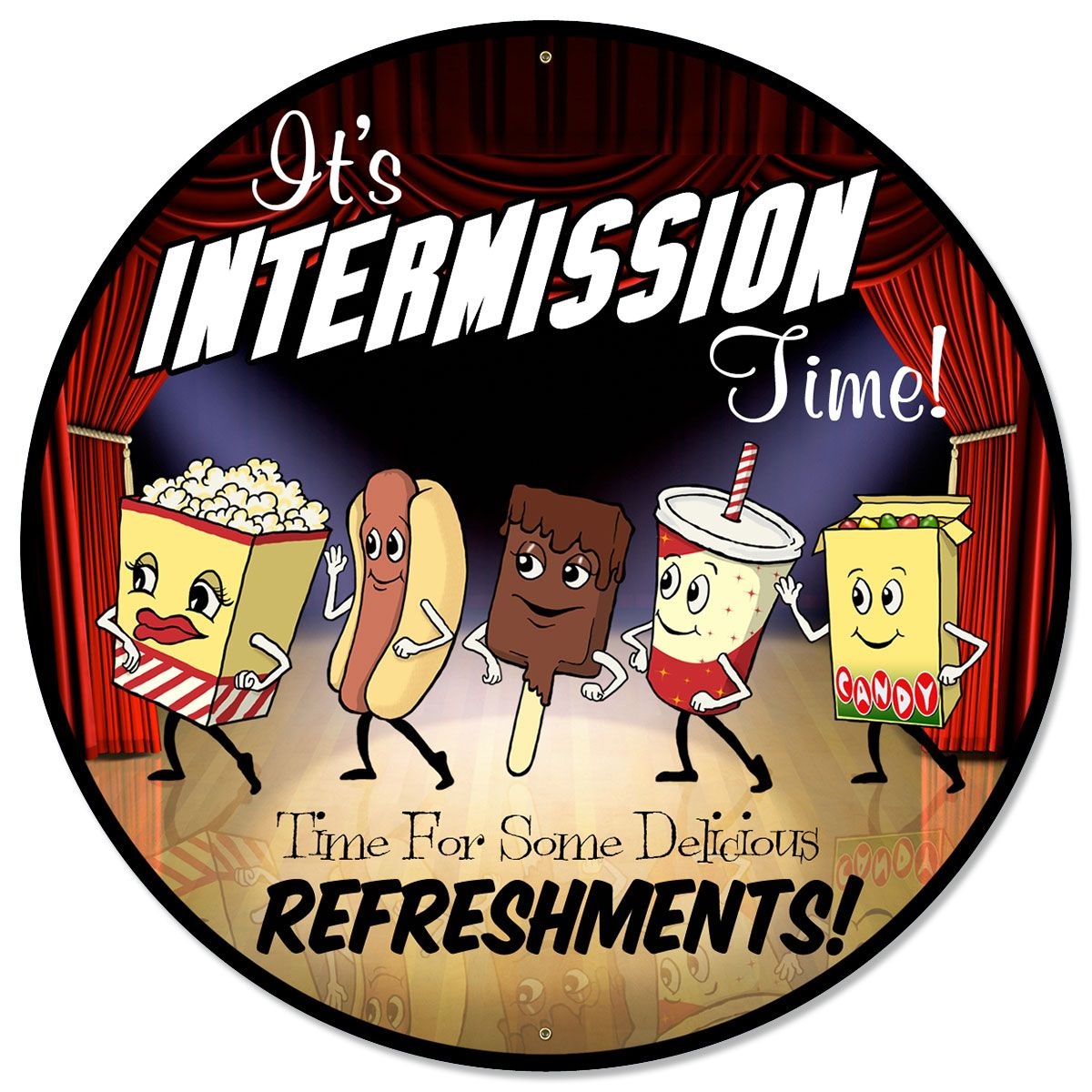 Theater Room Snack Bar: Intermission Time Dancing Snacks Metal Sign 28