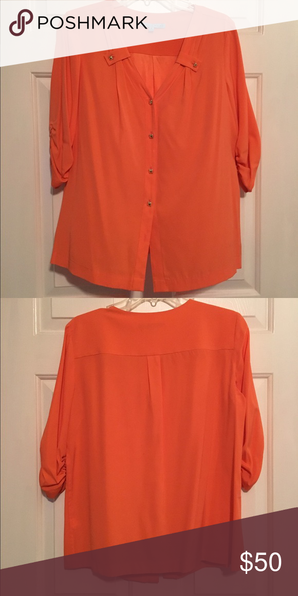 Antonio Melani Silk Blouse Color: Tangerine/Orange ANTONIO MELANI Tops Blouses