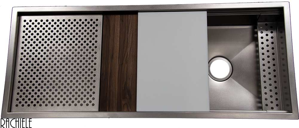 custom 48 inch undermount stainless sink with cutting board and drain grid only by rachiele  custom 48 inch undermount stainless sink with cutting board and      rh   pinterest com