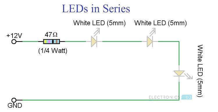 Simple Led Circuits Single Led Series Leds And Parallel Leds In 2020 Led Circuit Circuit Projects