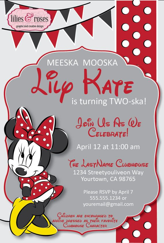 Red Minnie Mouse Birthday Party Invitation Digital Download on Etsy ...