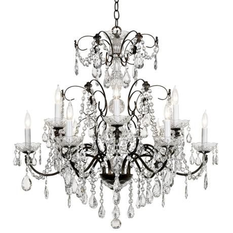 By Schonbek This Twelve Light Large Crystal Chandelier Features Strands And Droplets Set Against An