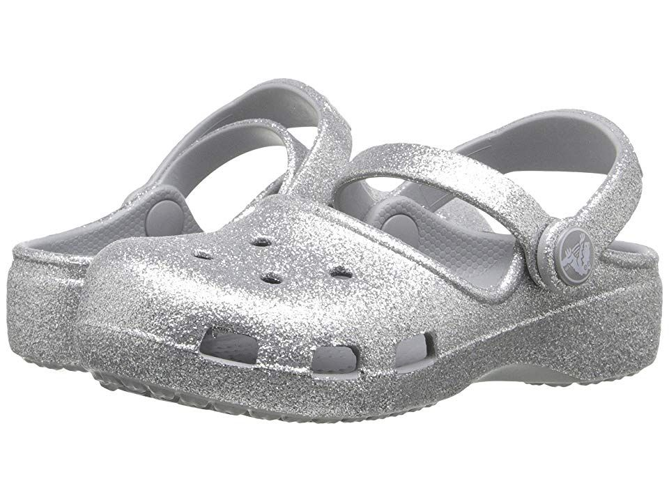 78112871d06a3 Crocs Kids Karin Sparkle Clog (Toddler  Little Kid) (Silver) Girls Shoes. A  touch of sparkle wrapped in a world of comfort in the Karin Sparkle Clog  from ...