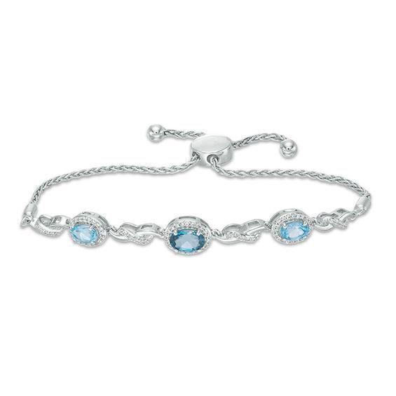 Zales Swiss Blue Topaz Line Bolo Bracelet in Sterling Silver - 9.5 B3Cf8BH