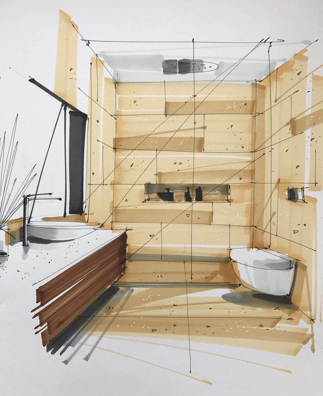 "Sergei Tihomirov on Instagram: ""Interior sketching #artwork #drawing #interiorsketcher #interiorsketching #sketching #sketchbook #markersketch #interiordesign #architect…"" #arquitectonico"