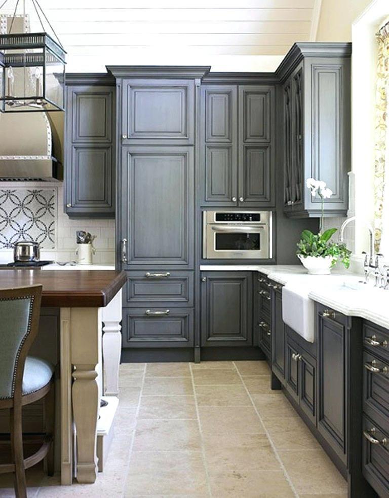 Image Cool Grey Kitchen Cabinets Houzz Antique White Dark Cream