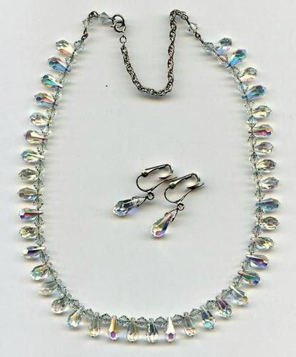 Vtg Sterling Chain Strung Borealis Teardrop Crystal Bead Necklace & Earrings Set  $34.95