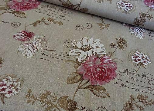 johaninka / Kvety a písmo na béžovo-režnom podklade š. 140cm