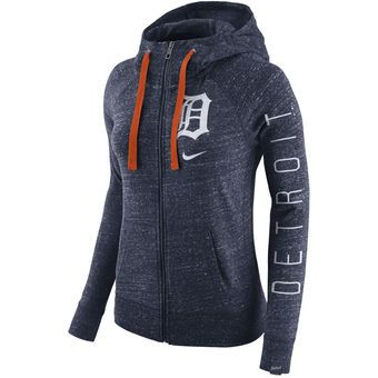 online retailer 105f9 5b0b3 Women's Detroit Tigers Nike Heather Navy Vintage Full-Zip ...