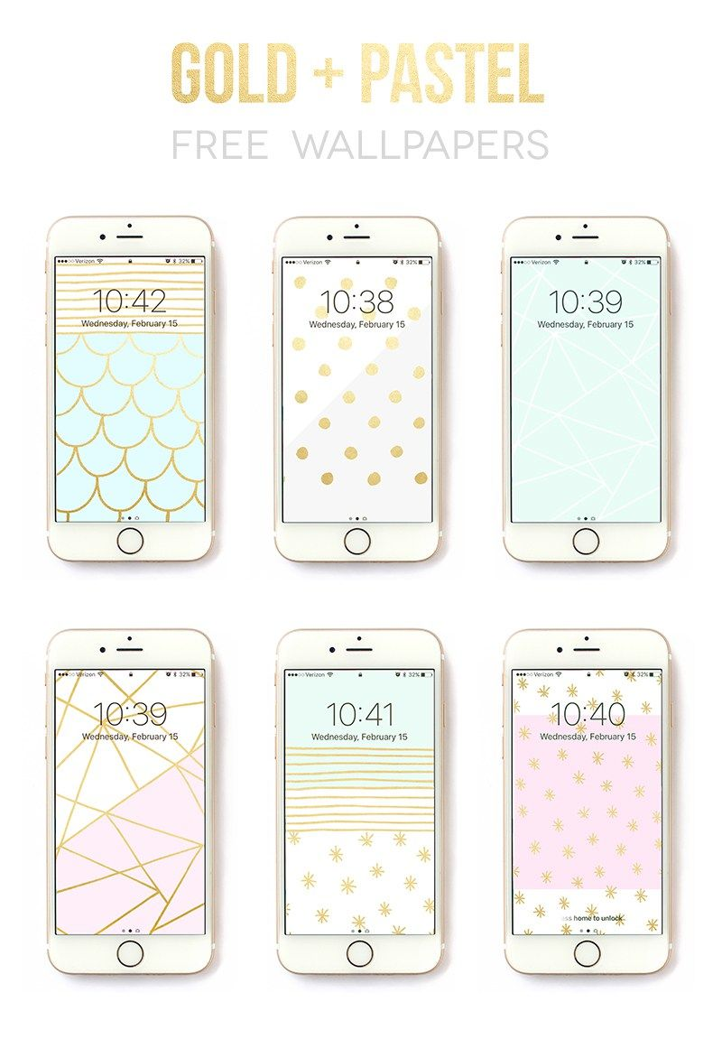 6 free iphone wallpaper designs by Rachel Hinderliter @linesacross - gold and pastel