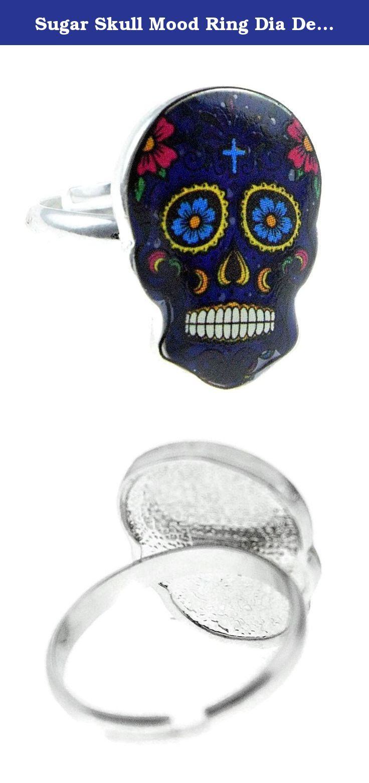Sugar skull mood ring dia de los muertos blue flower eyes day of express your mood with this beautiful sugar skull mood ring watch the skull changes colors right nvjuhfo Images