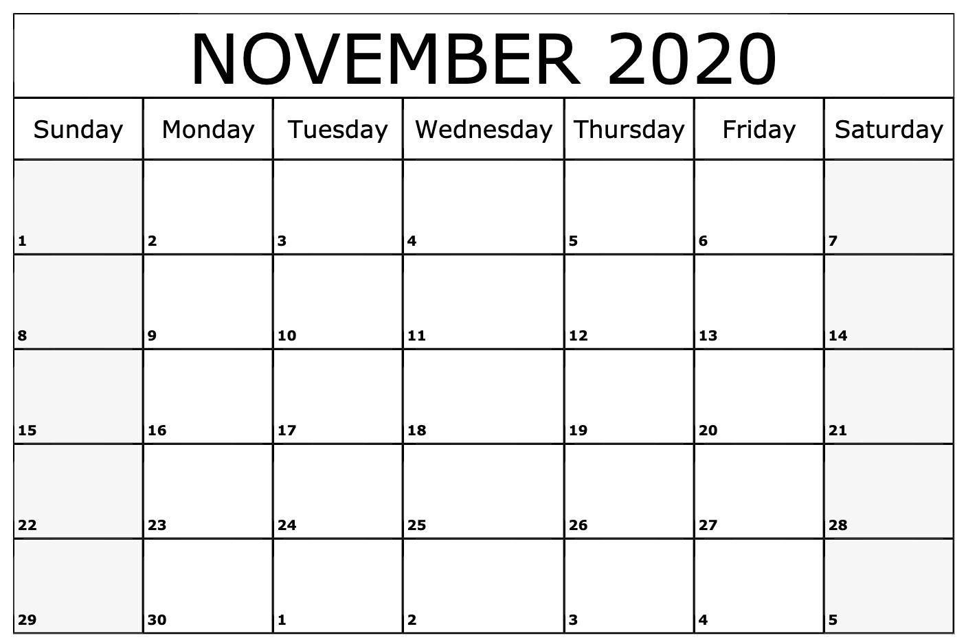 Free Printable November 2020 Calendar Template Pdf Word Excel