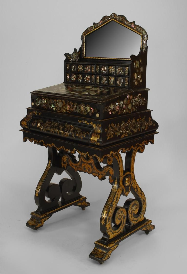 English Papier Mache Table Dressing Table Lacquer