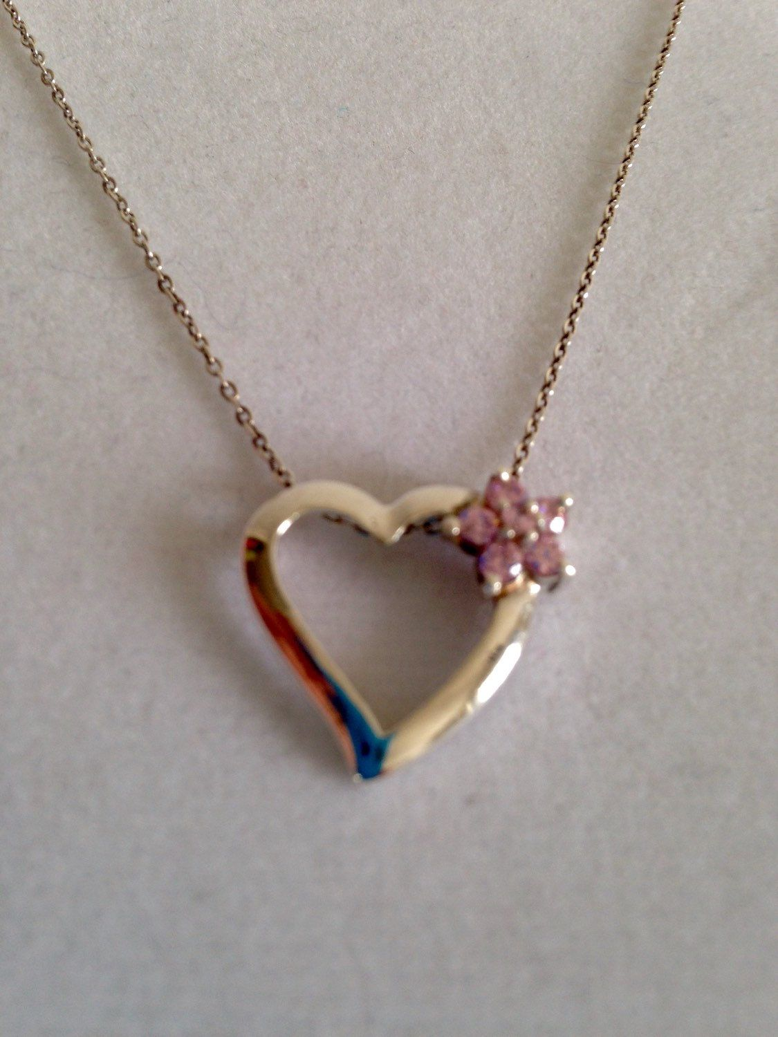 Silver Heart with Pink Flower Necklace by juliesringsandthings on Etsy