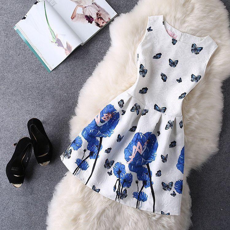 Print Style Sleeveless Vest Casual Dresses