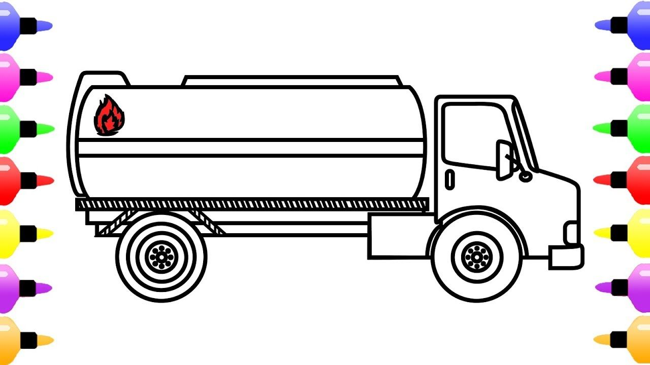 How To Draw Tanker Truck For Kids Coloring Page Of Truck For