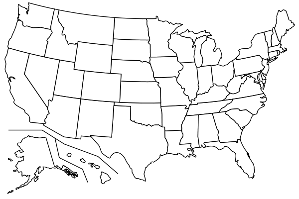 Printable, Blank USA Map...color in the states your kids