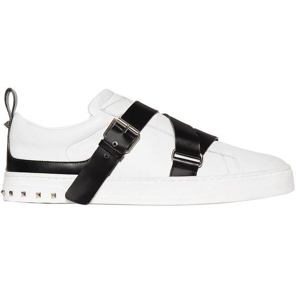 c2b791c730ee1 Valentino Men V-punk Two Tone Belted Leather Sneakers ($845) ❤ liked on Polyvore  featuring men's fashion, men's shoes, men's sneakers, mens camo shoes, ...