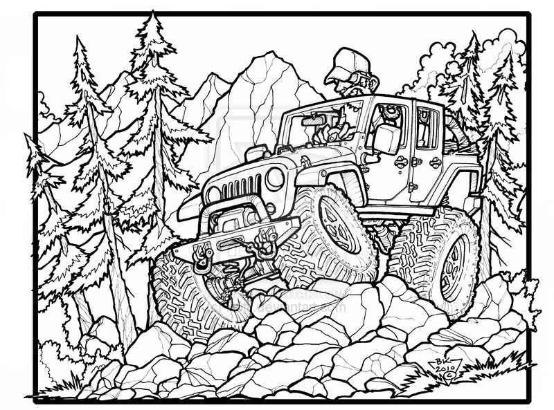 Fun Jeep Wrangler Unlimited Off Roading Great One For The Jeep Coloring Book Coloring Books Truck Coloring Pages Cars Coloring Pages