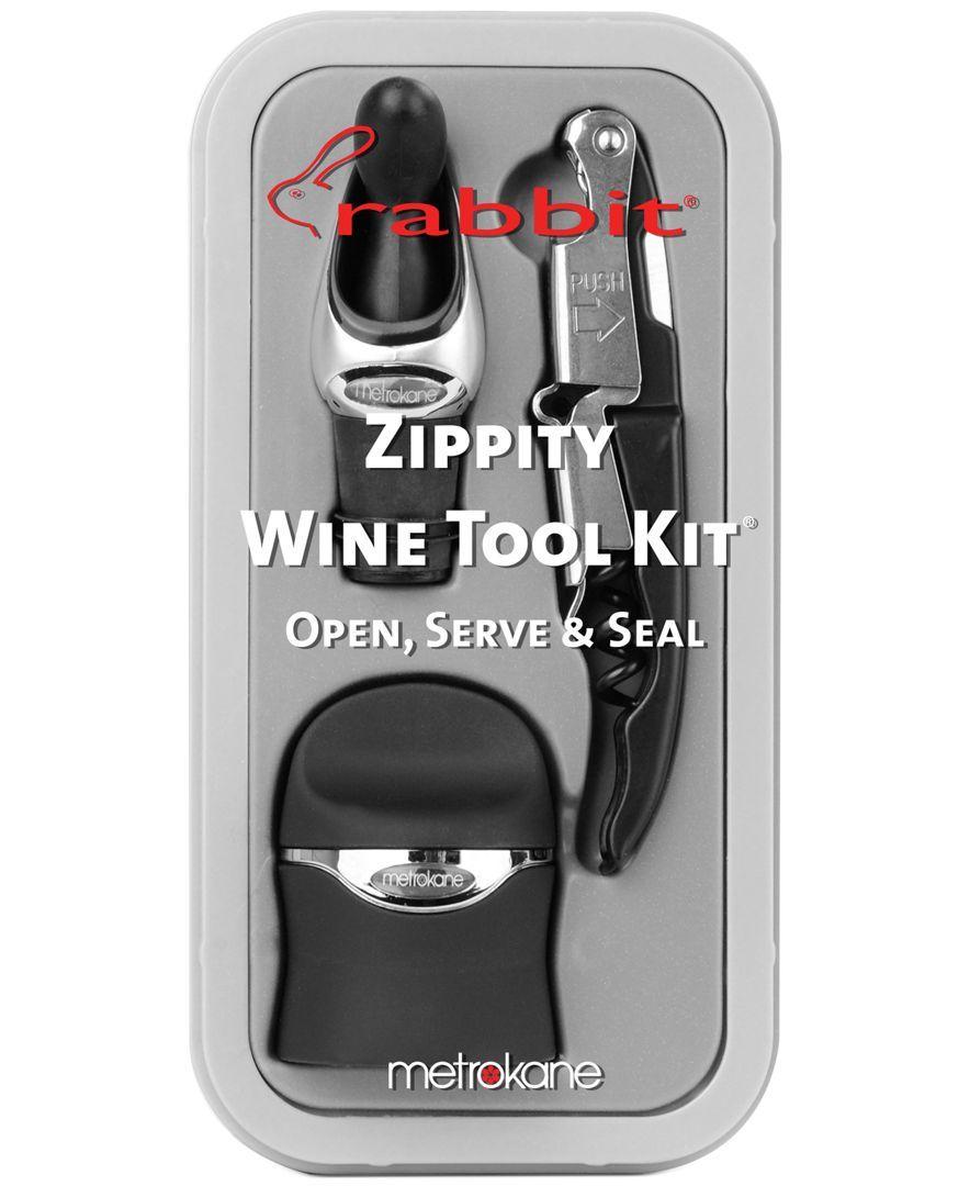 Attractive Rabbit Barware, Silver 3 Piece Zippity Wine Tool Kit