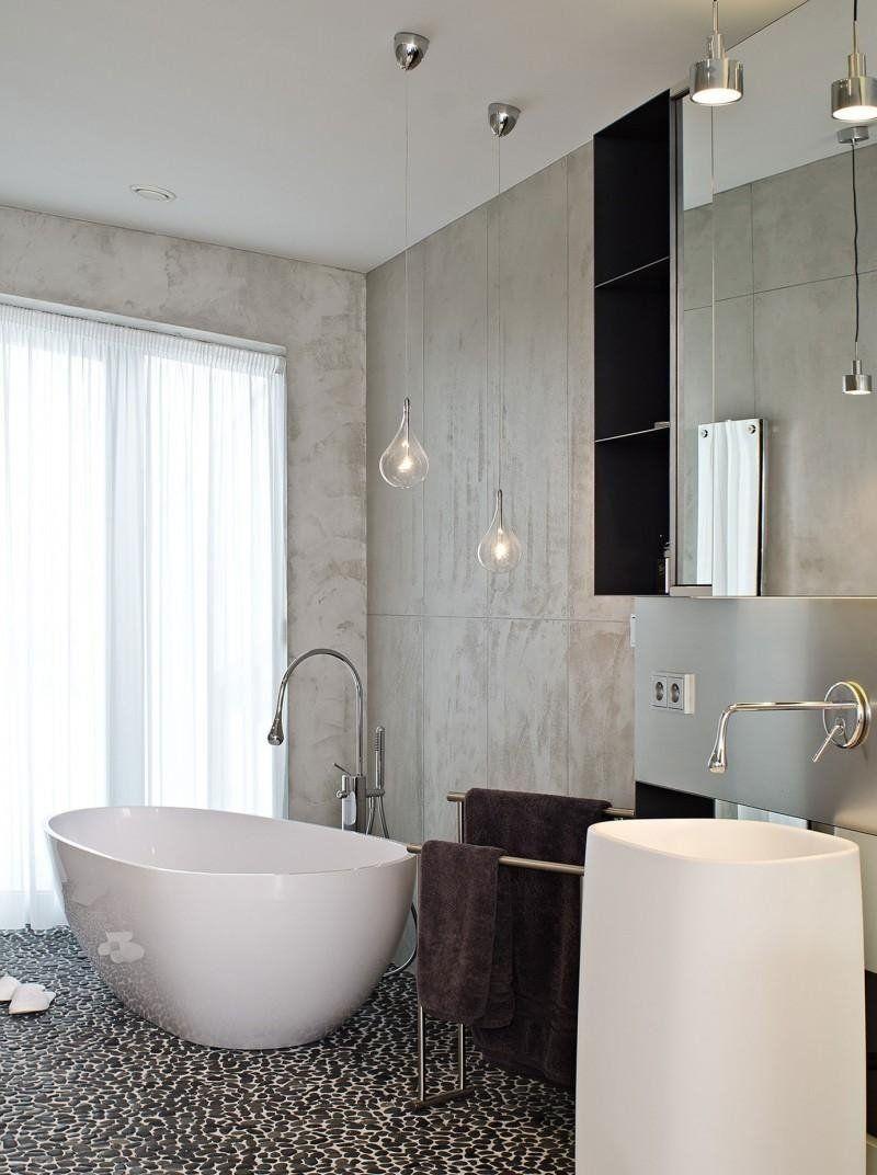 Mobilier béton,design mural et escaliers – 75 idées | salle de bains ...