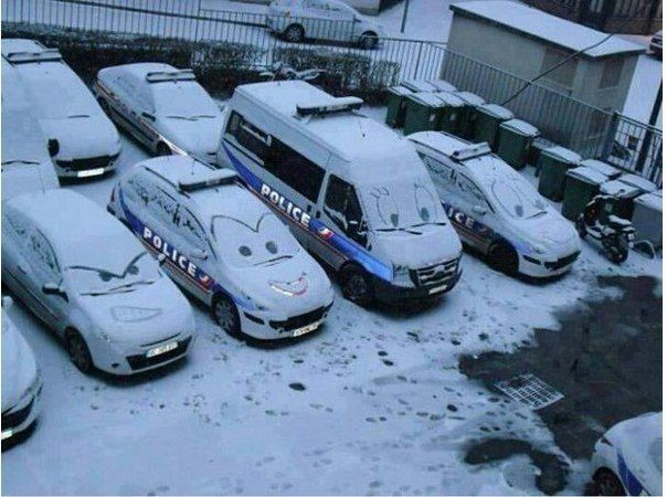 Snow Covered Police Cars With Cartoonish Faces Referenced By WHW - Fast reliable cars