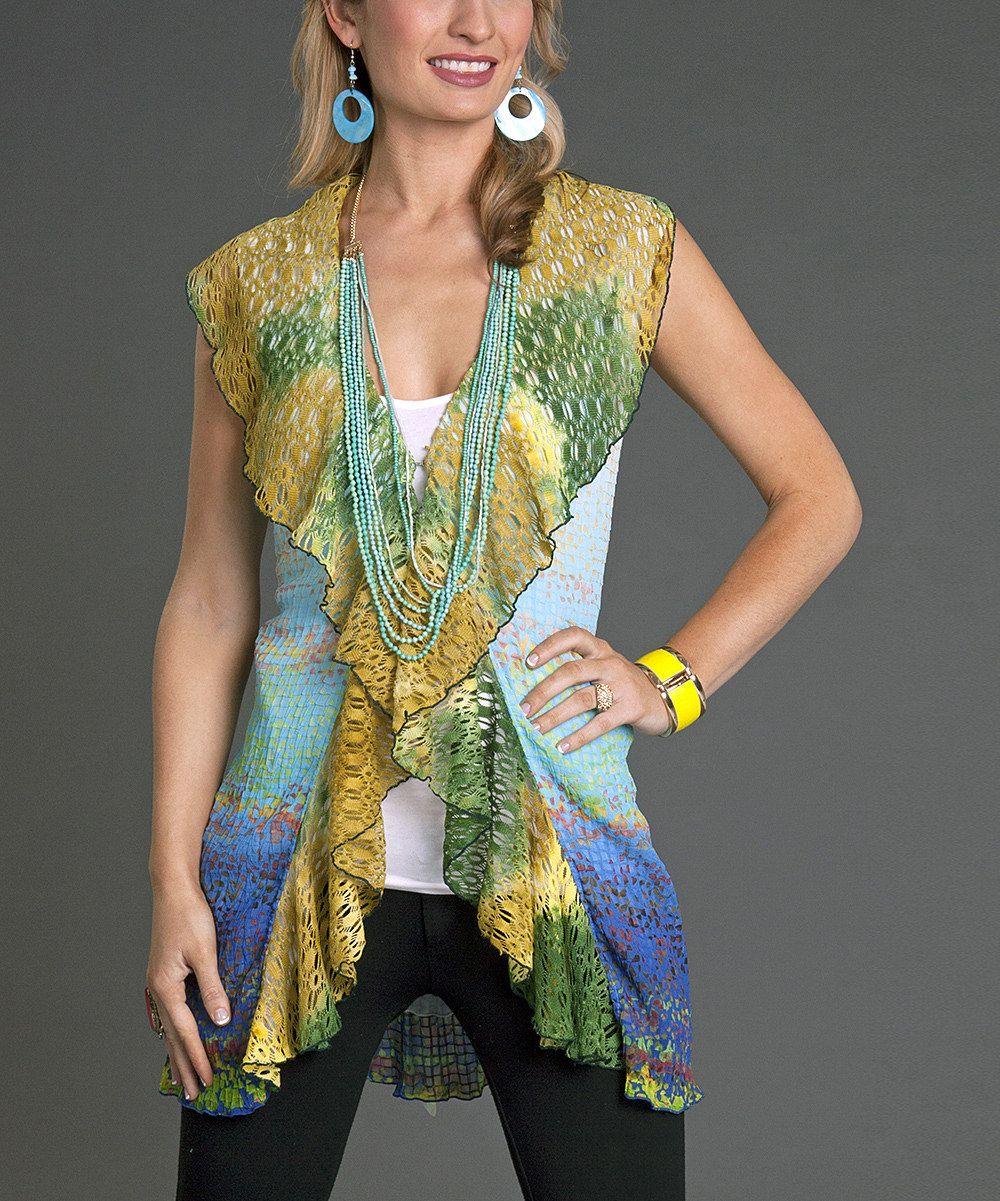 This Firmiana Blue & Mustard Ruffle Vest by Firmiana is perfect! #zulilyfinds