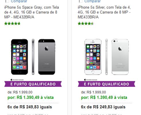 iPhone 5s Silver com Tela de 4 4G 16 GB e Camera de 8 MP << R$ 139049 >>