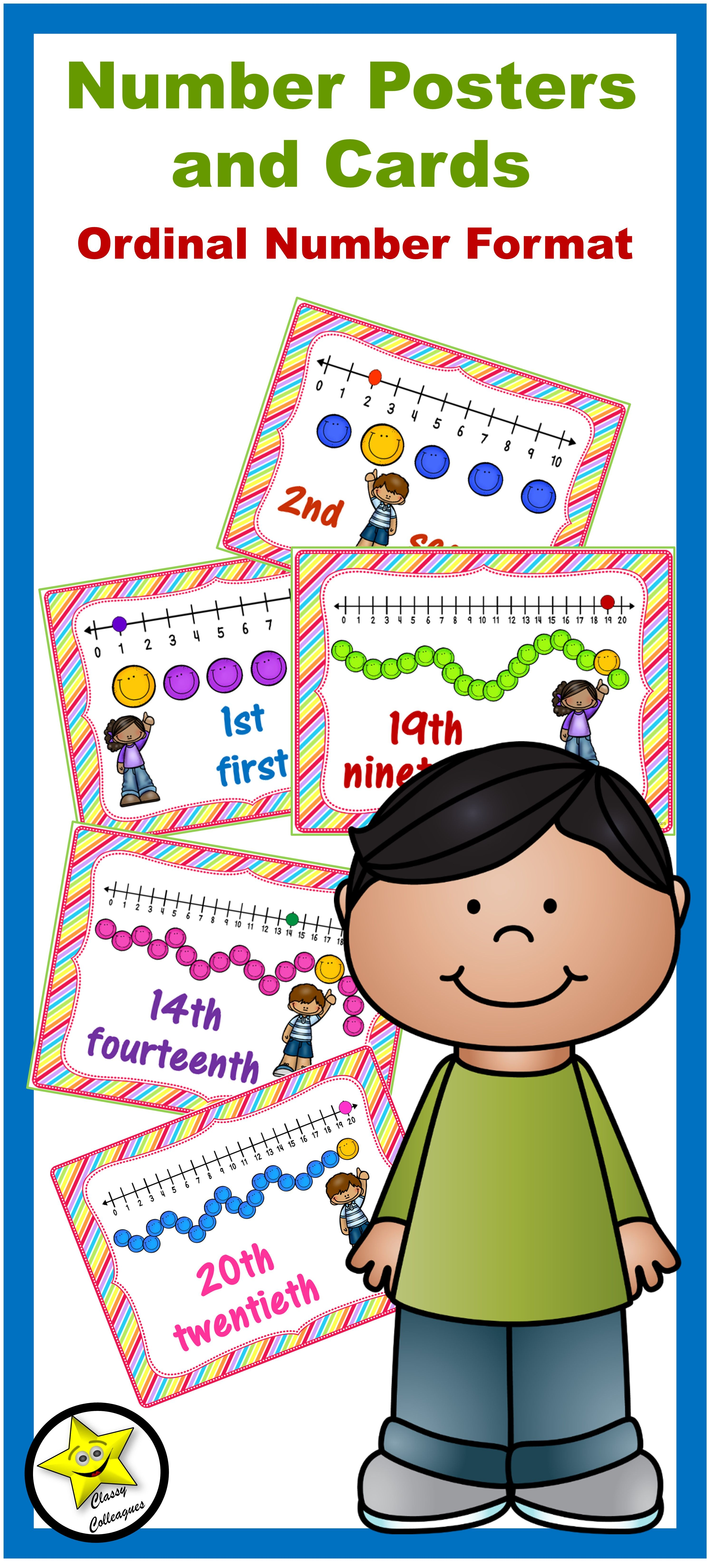 Number Posters And Cards Ordinal Numbers