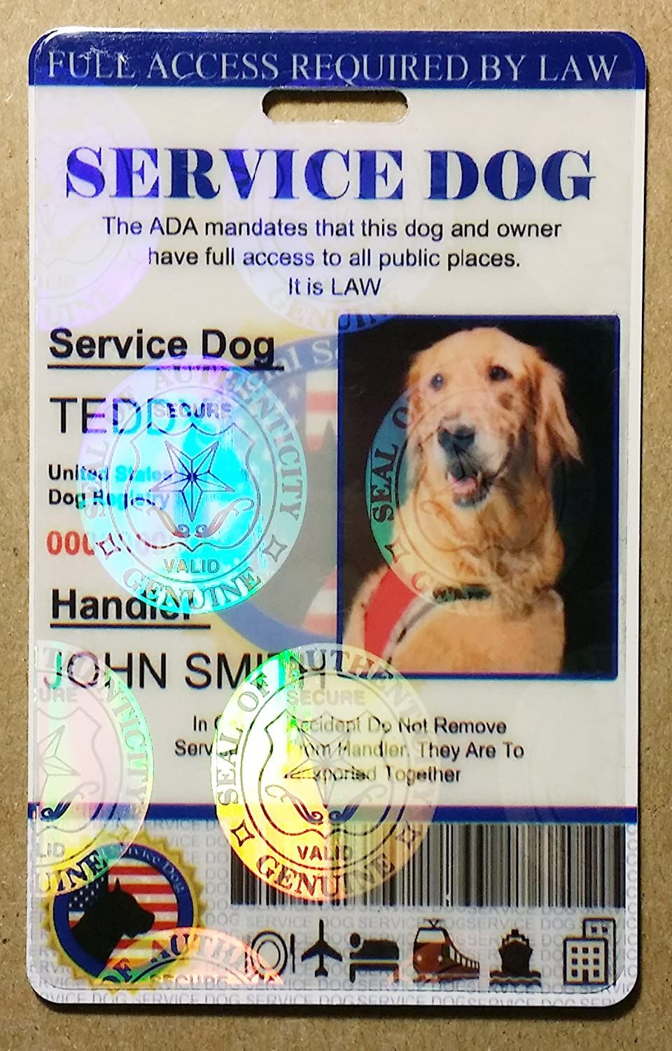 Holographic Service Dog Id Card Service Dogs Dog Id Emotional Support Dog